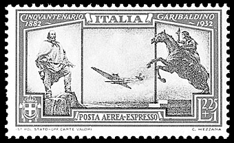 Italian airmail special delivery stamp.