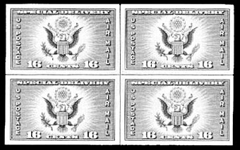 Centerline block of four of U.S. airmail special delivery stamp.