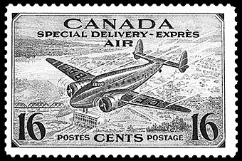 Canadian airmail special delivery stamp.
