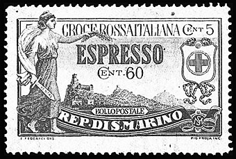 San Marino semipostal special delivery stamp.