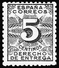 Spanish special delivery tax stamp.